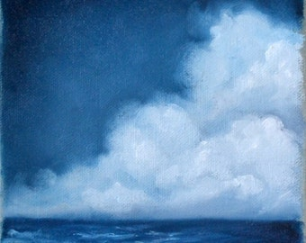 Seascape painting, original oil painting, clouds, wall art, ocean, home decor - Stormscape series sixtyfive