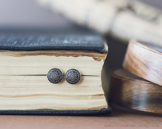 Tiny vintage stud earrings, Tiny ear post , Metal studs, Antique silver earrings, Retro jewelry, Black earrings, Art Nouveau jewelry, earrings, studs, stud earrings, metal studs, metal earrings, CitrusCat, jewelry
