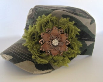 Cadet Military Distressed Hat in Green Camouflage with Olive Green Chiffon Flower and a Unique Copper Metal and Rhinestone Pendant Accent