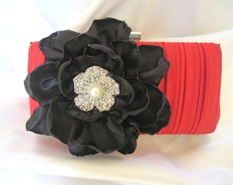 Red Satin Pleated Front Clutch with a Black Open Rose and Gorgeous Rhinestone and Pearl Flower Accent