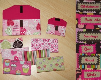 Made with Love Heart Fabric Cash Envelopes with EMBROIDERED LABELS