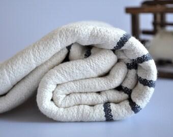 Turkish bath and beach towel bamboo and cotton mixed peshtemal towel with dark grey stripes, genuine handloomed