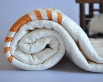 Peshtemal Towel - Turkish Towel for bath in Ivory color , Orange striped , cotton towel