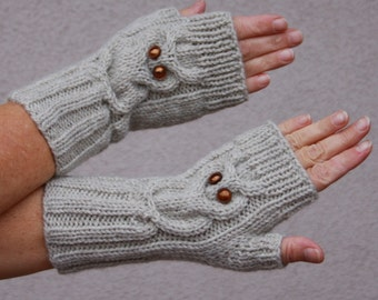 Beautiful hand knitted ladies mittens. Fingerless ''Owl'' gloves for ladies, available in many colours.