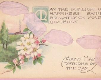 Ca. 1908 Two Layer Birthday Greeting Post Card w/ Real Ribbon- 22