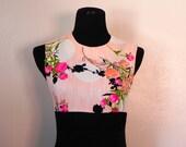 1970s Vintage Black Maxi Dress with Peach Floral Print Bodice