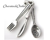 2 Fork Knife Spoon Charms - BG207 Antiqued Silver