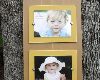 Plank Picture Frame, Rustic Frame, Double 5x7 Frame, Distressed Picture Frame