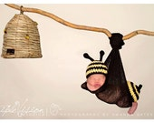 Bumble Bee Hat and Bottom Tushy Topper Cover  Crochet Set  Newborn Photo Prop