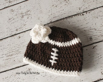 Children's Brown And White Football Flower Crochet Hat Photo Prop