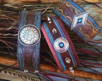 LEATHER CUFF BRACELET, Pastel Southwest Native American Punk Cowgirl Jewelry Spike Jewelry, cowgirl gypsy
