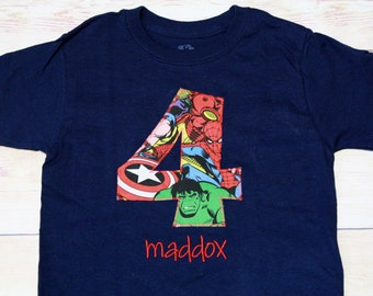 Superhero Birthday Shirt / Captain America / IronMan / Spiderman / Thor / Hulk /  1st 2nd 3rd 4th 5th 6th 7th Birthday / Boy Birthday/Marvel