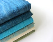 Caribbean sea color superb quality raw Indian silk pack  of 6 fat quarters
