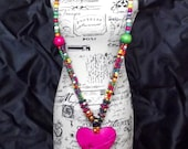 Heart Beaded Tribal Necklace in Bright Vibrant Colors Red Purple and Pink