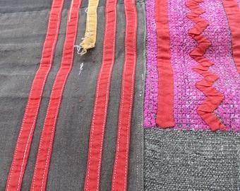 Vintage Hmong Fabric, handmade cross stitch cotton, fabric- textiles,-hill tribal fabric