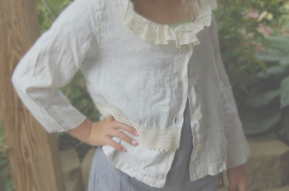 Linen Jacket Cropped Linen Jacket Womens Clothing Medium Ivory SALE  Of Linen and Lace Vintage Inspired