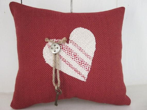 Decorative Valentine Pillows : Burlap pillow Valentine s day pillow vintage by 112FarmhouseLayne