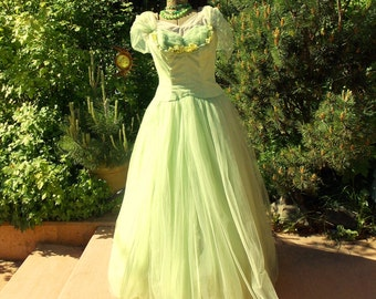 Vintage 1950's Dress Emma Domb Cupcake Prom Gown Pastel Lime Green Tulle Ruched Bodice Shoulder Cape Sublime Evening Wear