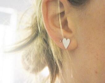 Mini sterling silver heart earrings