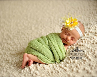 The Tiereny - Grey Ivory and Yellow Flower Headband with French Netting and Feathers - Perfect Newborn Photo Prop