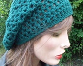BOHEMIAN SLOUCH - Stylish and hip accessory to add to any wardrobe. Color is SPRUCE. women and teen girls slouch, hand crochet slouchy