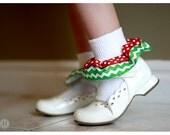 Ruffle Christmas socks - Red and White Polka dot and Green Chevron