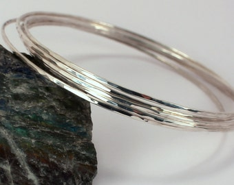 Five Hammered Sterling Silver Stacking Bangles, Made to Order