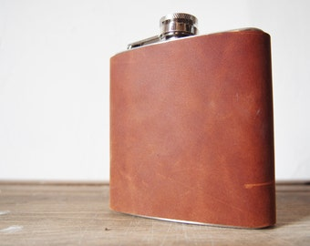 Limited Edition Flask - Russet Genuine Leather, Hand Engraved, Best Man, cowboy leather, high quality leather