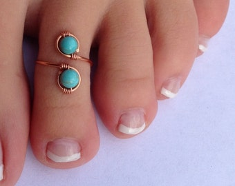 Genuine Turquoise and Copper Wire Wrapped Adjustable Ring/Toe Ring