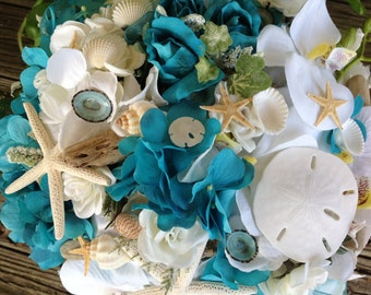 Deluxe Driftwood and Seashell Turquoise and White Hydrangea and Orchid Bridal Bouquet with Starfish