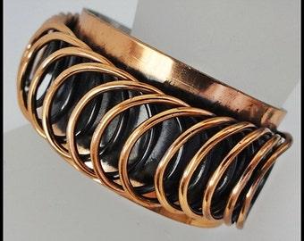 Vintage Renoir Mid Century Retro Spiral Copper Cuff Bracelet Handmade Renoir