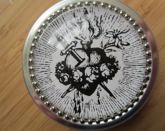 Item # 21 ~ Immaculate Heart of Mary Rosary case decorated tin 2 oz round, steel tin First Communion gift for boy or girl, baptism favor
