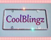 Thin BABY PINK Rhinestone Diamond Bling CRYSTAL License Plate Frame Sparkle made w/ Swarovski Elements Crystals