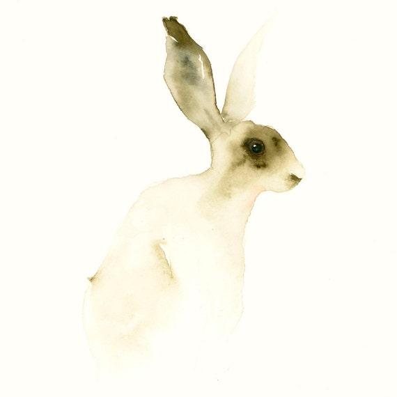 Animal Artwork Hare Fine Art Animal Print from Original Watercolor