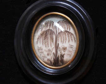 MercurysMoon-Gorgeous Antique French Hair Reliquary of a Willow Tree Under Domed Glass in Ebony Frame-Memento Mori