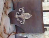 One of a Kind Chocolate Brown Handmade Leather Handbag w/ Fleur de lis