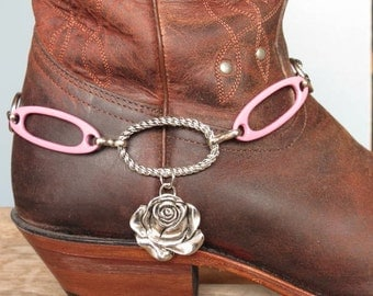 Boot Charm made with Silvertone Flower , Pink metal connectors and a Chunky Chain.