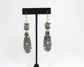 Tribal Earrings, Beaded Earrings, African Earrings, Copper, Green Earrings