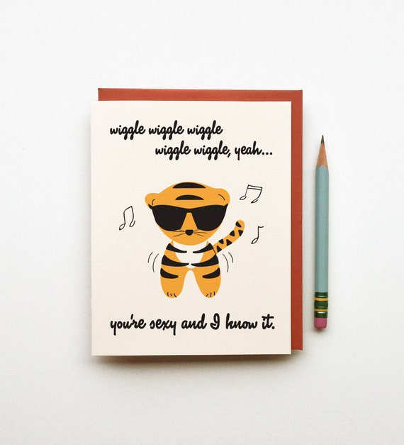 youre sexy and I know it dancing music guido tiger animal hipster illustration humor funny card just because love or birthday