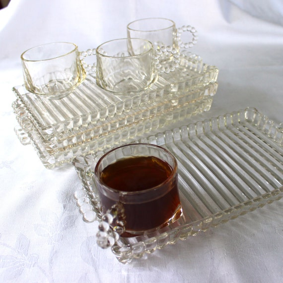 Vintage glass snack sets clear cups trays boopie by kerrycan