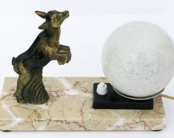 Table Lamp, French Art Deco, Animal Table Lamp