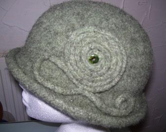 Handmade  Moss green knitted  felted women hat..