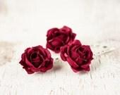 72_inous floral hair pins, Red hair accessories, Hair pins, Rose hair clips, Hair pins bordeaux, Hair pins wedding, Hair pins roses, Bridal.