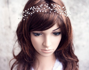 12_Bridal tiara, Diadem, Wedding tiaras, Diadem bride, Bridal diadem, Headpiece, Crystal diadem, Diadem twigs, Vine crown, Silver diadem.