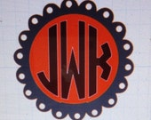 Large Scalloped Circle with Solid Monogram Car Decal