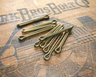 Steampunk Craft Supplies - TEN Vintage Solid Brass Cotter Pins - Repurpose