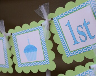 Cupcake theme Happy Birthday banner -Blue and lime