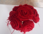 Rustic Burlap flowers on Stem - Set of 7 Rolled Red Roses - ready to ship