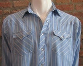 Mens LARGE cowboy shirt, Authentic Western Youngbloods, vintage, light blue and white pinstripes, pearl snaps (436)