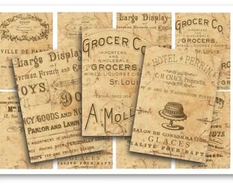 Digital Images - Digital Collage Sheet Download - Vintage Ephemera Labels -  862  - Digital Paper - Instant Download Printables